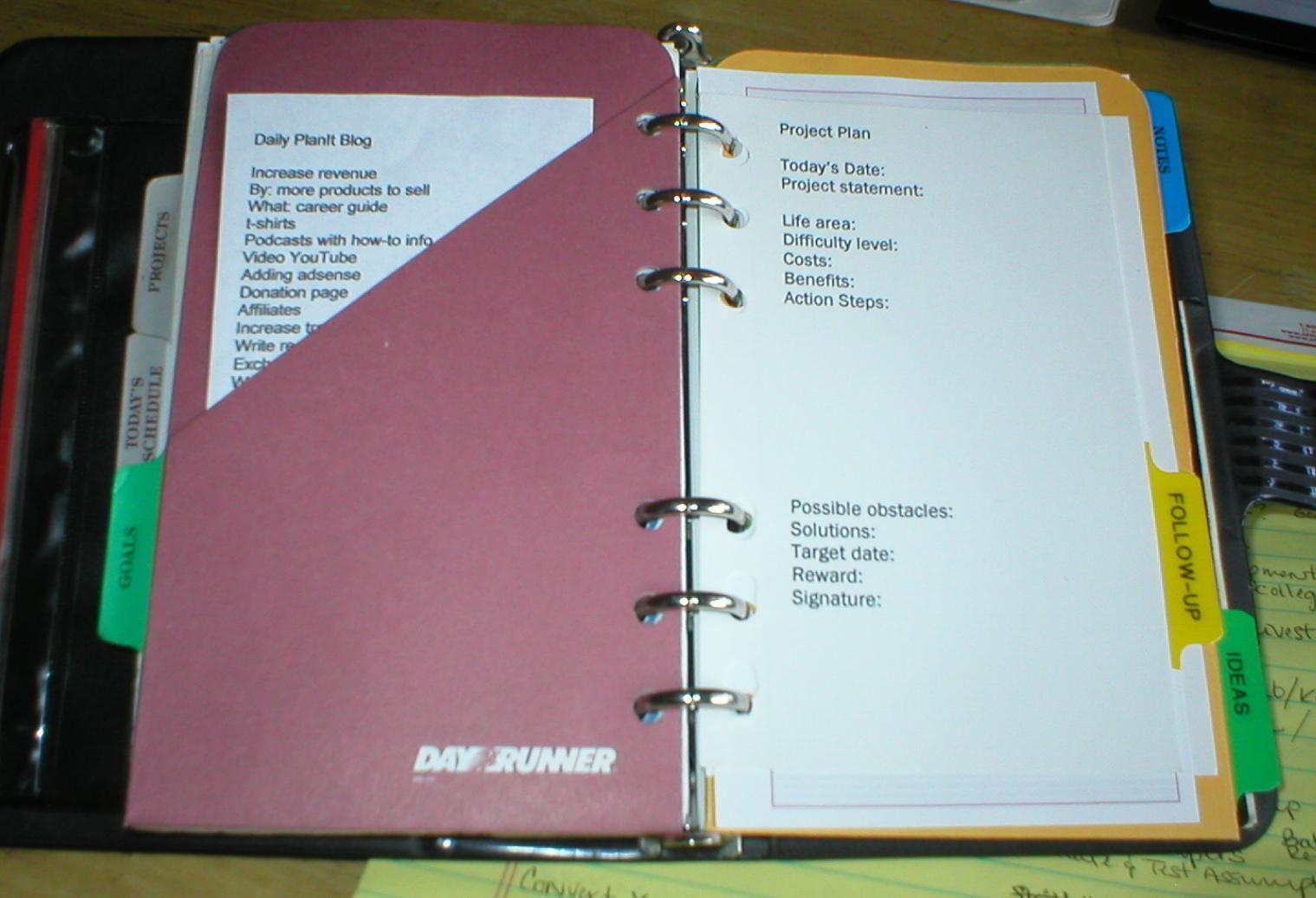 word 2007 weekly planner