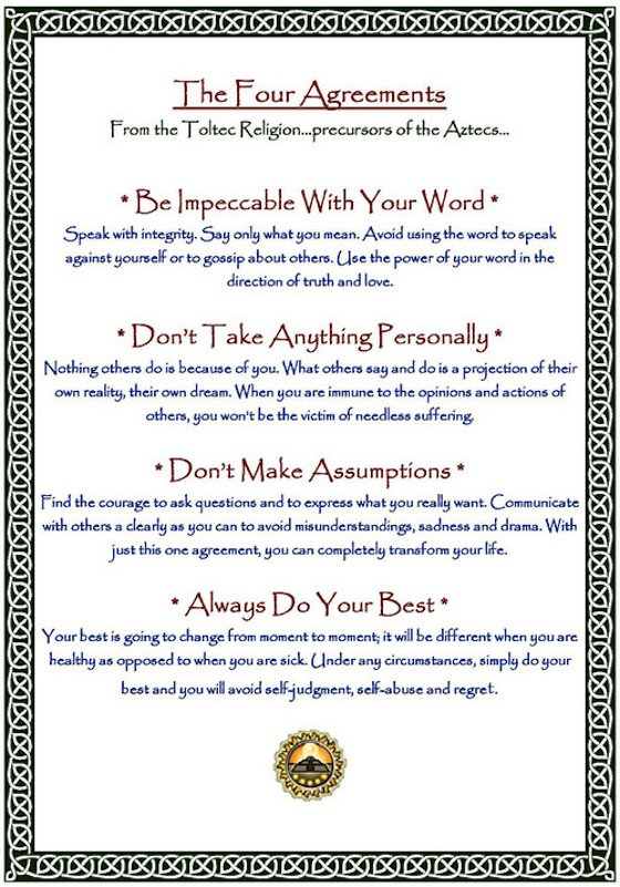 graphic about The Four Agreements Printable known as Educate the 4 Agreements Day-to-day PlanIt