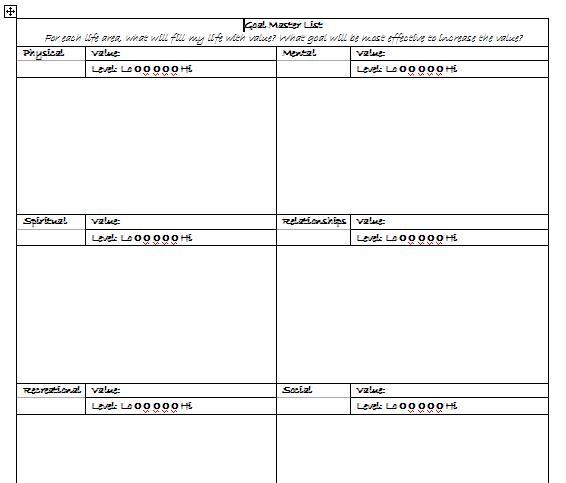 goal master list daily planit. Black Bedroom Furniture Sets. Home Design Ideas